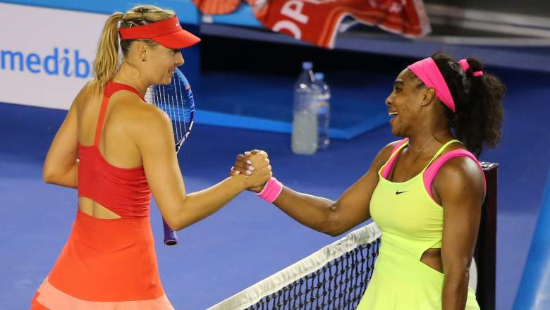 Maria Sharapova and Serena Williams square off in one of the Wimbledon semifinals. (Getty)