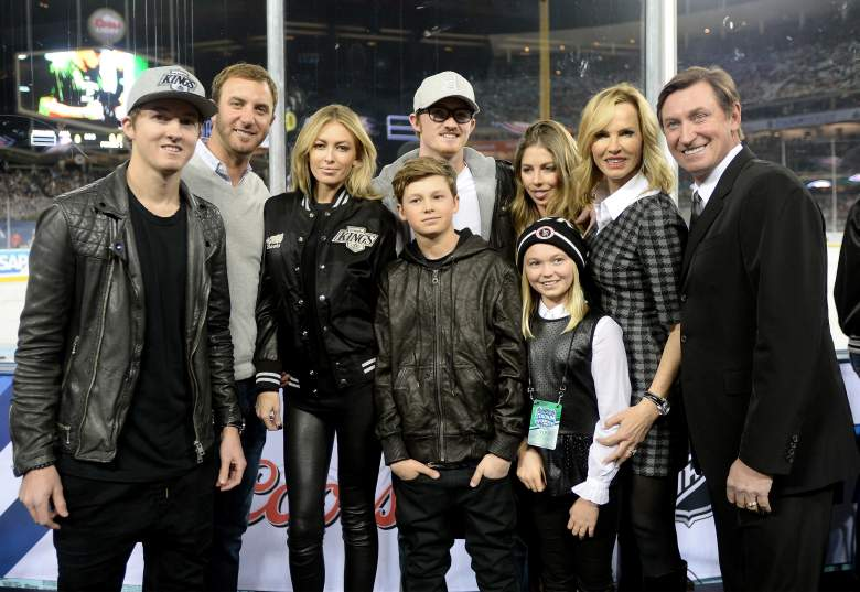 LOS ANGELES, CA - JANUARY 25:  (EDITORIAL USE ONLY) Friends and family of Wayne Gretzky including Dustin Johnson pose for a photo during the 2014 Coors Light NHL Stadium Series at Dodger Stadium on January 25, 2014 in Los Angeles, California.  (Photo by Harry How/Getty Images)