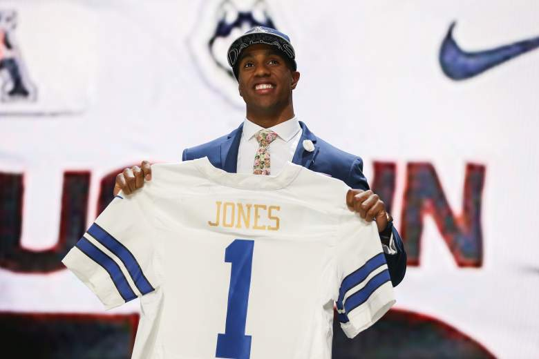 CHICAGO, IL - APRIL 30:  Byron Jones of the Connecticut Huskies holds up a jersey after being picked #27 overall by the Dallas Cowboys during the first round of the 2015 NFL Draft at the Auditorium Theatre of Roosevelt University on April 30, 2015 in Chicago, Illinois.  (Photo by Jonathan Daniel/Getty Images)