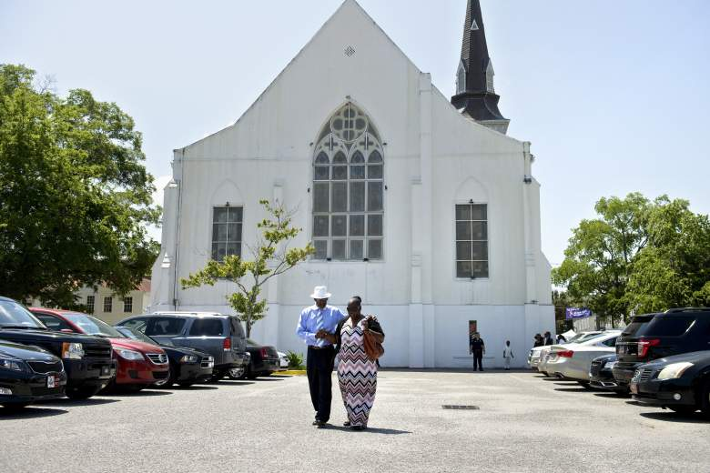 People depart the Emanuel AME Church following Sunday services June 21, 2015 in Charleston, South Carolina.  Large crowds are expected at Sunday's service at the black church in Charleston where nine African Americans were gunned down, as a chilling website apparently created by the suspected white supremacist shooter emerged. The service will be the first since the bloodbath on Wednesday at the Emanuel African Methodist Episcopal Church in the southern state of South Carolina, which has fuelled simmering racial tensions in the United States and reignited impassioned calls for stronger gun-control laws. AFP PHOTO/BRENDAN SMIALOWSKI        (Photo credit should read BRENDAN SMIALOWSKI/AFP/Getty Images)
