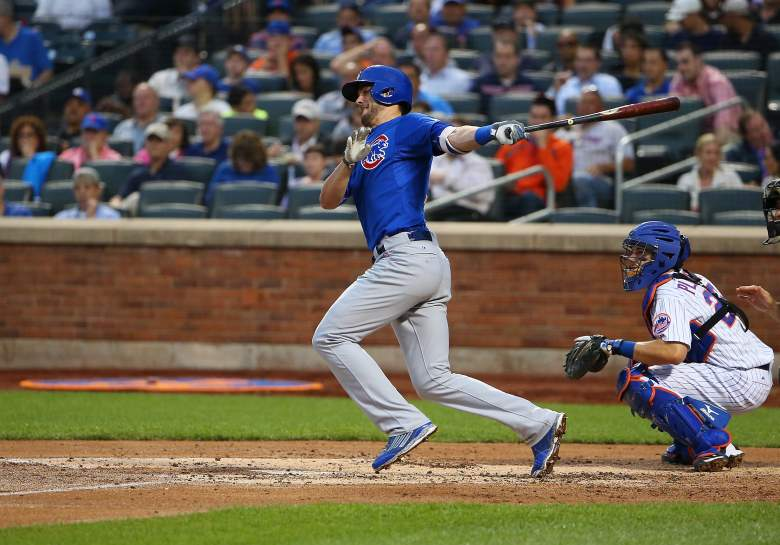 NEW YORK, NY - JUNE 30:  Kris Bryant #17 of the Chicago Cubs hits a single in the third inning against the New York Mets on June 30, 2015 at Citi Field in the Flushing Neighborhood of the Queens borough of New York City.  (Photo by Nate Shron/Getty Images)