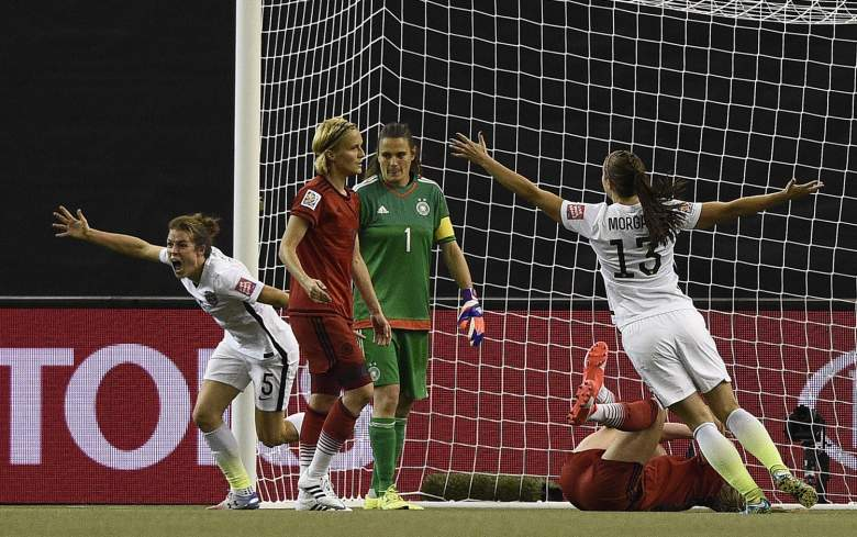 USA defender Kelley O'Hara, left, celebrates her goal against Germany on Tuesday. (Getty)