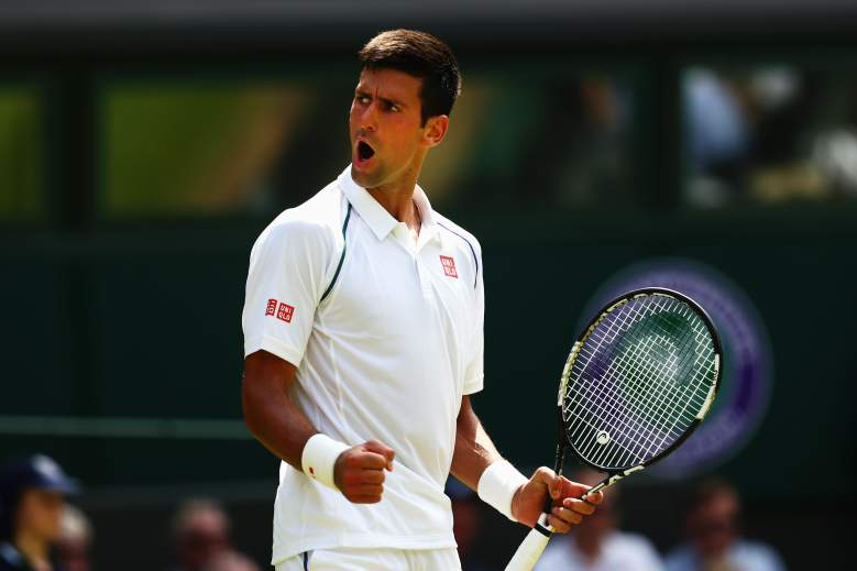 LONDON, ENGLAND - JULY 01:  Novak Djokovic of Serbia celebrates a point in his Gentlemens Singles Second Round match against Jarkko Nieminen of Finland during day three of the Wimbledon Lawn Tennis Championships at the All England Lawn Tennis and Croquet Club on July 1, 2015 in London, England.  (Photo by Clive Brunskill/Getty Images)