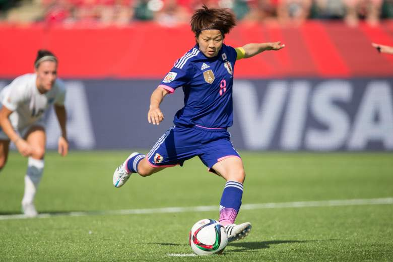 Japan's Aya Miyama takes a penalty kick to score in the first half  for a 1-0 lead during their FIFA Women's World Cup semi-final match against England at Commonwealth Stadium in Edmonton, Canada on July 1, 2015.  A late own-goal by England defender Laura Bassett put defending champions Japan into the final of the Women's World Cup with a 2-1 win.    AFP PHOTO / GEOFF ROBINS        (Photo credit should read GEOFF ROBINS/AFP/Getty Images)