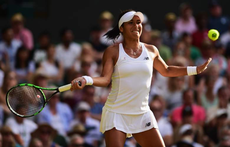 LONDON, ENGLAND - JULY 03:  Heather Watson of Great Britain plays a forehand in her Ladies' Singles Third Round match against Serena Williams of the United States during day five of the Wimbledon Lawn Tennis Championships at the All England Lawn Tennis and Croquet Club on July 3, 2015 in London, England.  (Photo by Shaun Botterill/Getty Images)