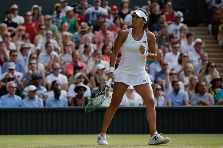 Britain's Heather Watson reacts after breaking the serve of US player Serena Williams during their women's singles third round match on day five of the 2015 Wimbledon Championships at The All England Tennis Club in Wimbledon, southwest London, on July 3, 2015.   RESTRICTED TO EDITORIAL USE  --  AFP PHOTO / ADRIAN DENNIS        (Photo credit should read ADRIAN DENNIS/AFP/Getty Images)