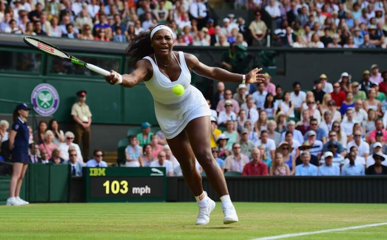 LONDON, ENGLAND - JULY 03:  Serena Williams of the United States plays a forehand in her Ladies' Singles Third Round match against Heather Watson of Great Britain during day five of the Wimbledon Lawn Tennis Championships at the All England Lawn Tennis and Croquet Club on July 3, 2015 in London, England.  (Photo by Shaun Botterill/Getty Images)