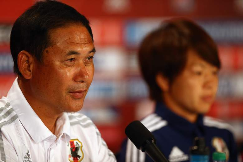 VANCOUVER, BC - JULY 04:  Norio Sasaki of Japan speaks with the media during a press conference prior to the FIFA Women's World Cup Canada 2015 Final between United States and Japan at BC Place Stadium on July 4, 2015 in Vancouver, Canada.  (Photo by Ronald Martinez/Getty Images)