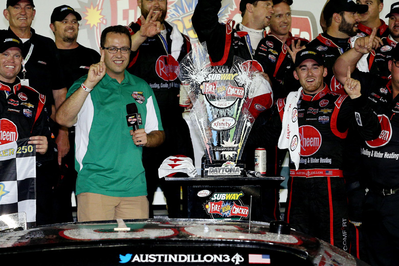 Fogle, left, poses with Austin Dillon, driver of the #33 Rheem Chevrolet, in Victory Lane after Dillon won the NASCAR XFINITY Series Subway Firecracker 250 Powered By Coca-Cola at Daytona International Speedway on July 4, 2015 in Daytona Beach, Florida.  (Getty)
