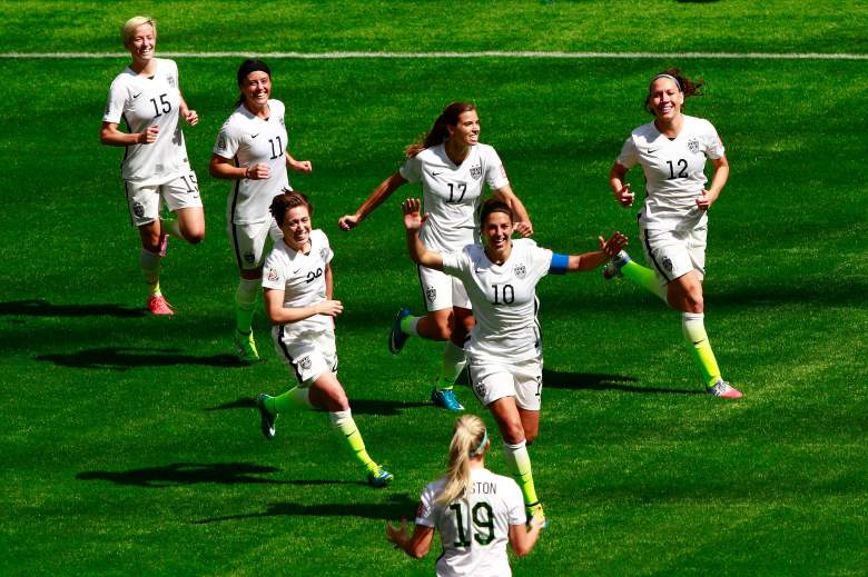VANCOUVER, BC - JULY 05:  Carli Lloyd #10 of the United States celebrates with teammates after scoring her second goal against Japan in the FIFA Women's World Cup Canada 2015 Final at BC Place Stadium on July 5, 2015 in Vancouver, Canada.  (Photo by Jeff Vinnick/Getty Images)