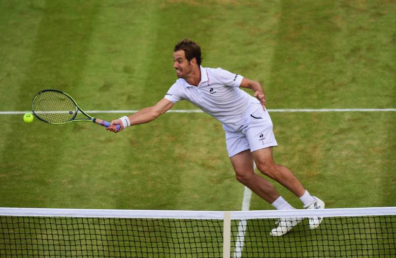 LONDON, ENGLAND - JULY 08:  Richard Gasquet of France plays a forehand in his Gentlemens Singles Quarter Final match against Stanislas Wawrinka of Switzerland during day nine of the Wimbledon Lawn Tennis Championships at the All England Lawn Tennis and Croquet Club on July 8, 2015 in London, England.  (Photo by Shaun Botterill/Getty Images)