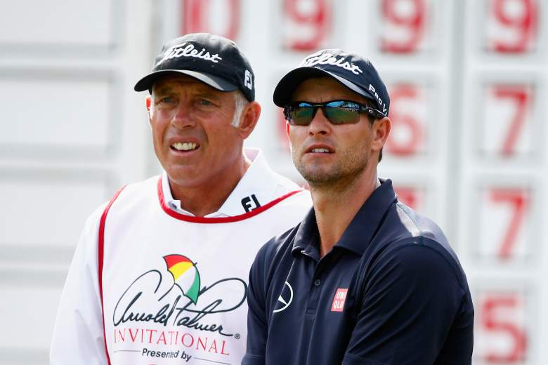 ORLANDO, FL - MARCH 23: Adam Scott of Australia and caddie Steve Williams (L) wait on the 11th tee during the final round of the Arnold Palmer Invitational presented by MasterCard at the Bay Hill Club and Lodge on March 23, 2014 in Orlando, Florida. (Photo by Sam Greenwood/Getty Images)