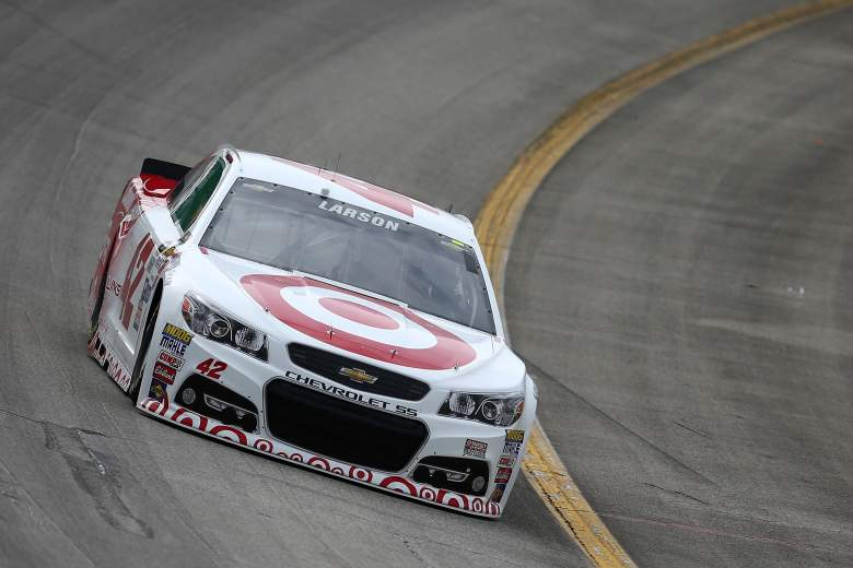 Kyle Larson is on the pole for Saturday night's Quaker State 400. (Getty)
