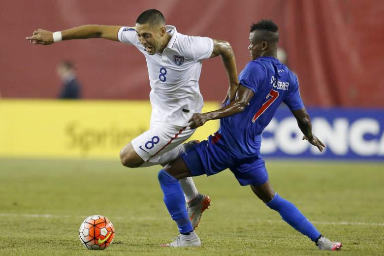 Haiti's Wilde Donald Gurrier (R) tackles United States' Clint Dempsey during the CONCACAF Gold Cup match between the United States and Haiti, July 10, 2015, in Foxborough, Massachusetts. AFP PHOTO/DOMINICK REUTER        (Photo credit should read DOMINICK REUTER/AFP/Getty Images)