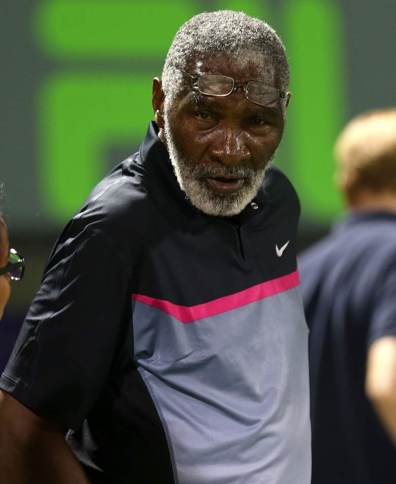 KEY BISCAYNE, FL - MARCH 24:  Richard Williams looks on during Venus Williams match against Dominika Ciblukova of Slovakia during their match on March 24, 2014 in Key Biscayne, Florida.  (Photo by Mike Ehrmann/Getty Images)