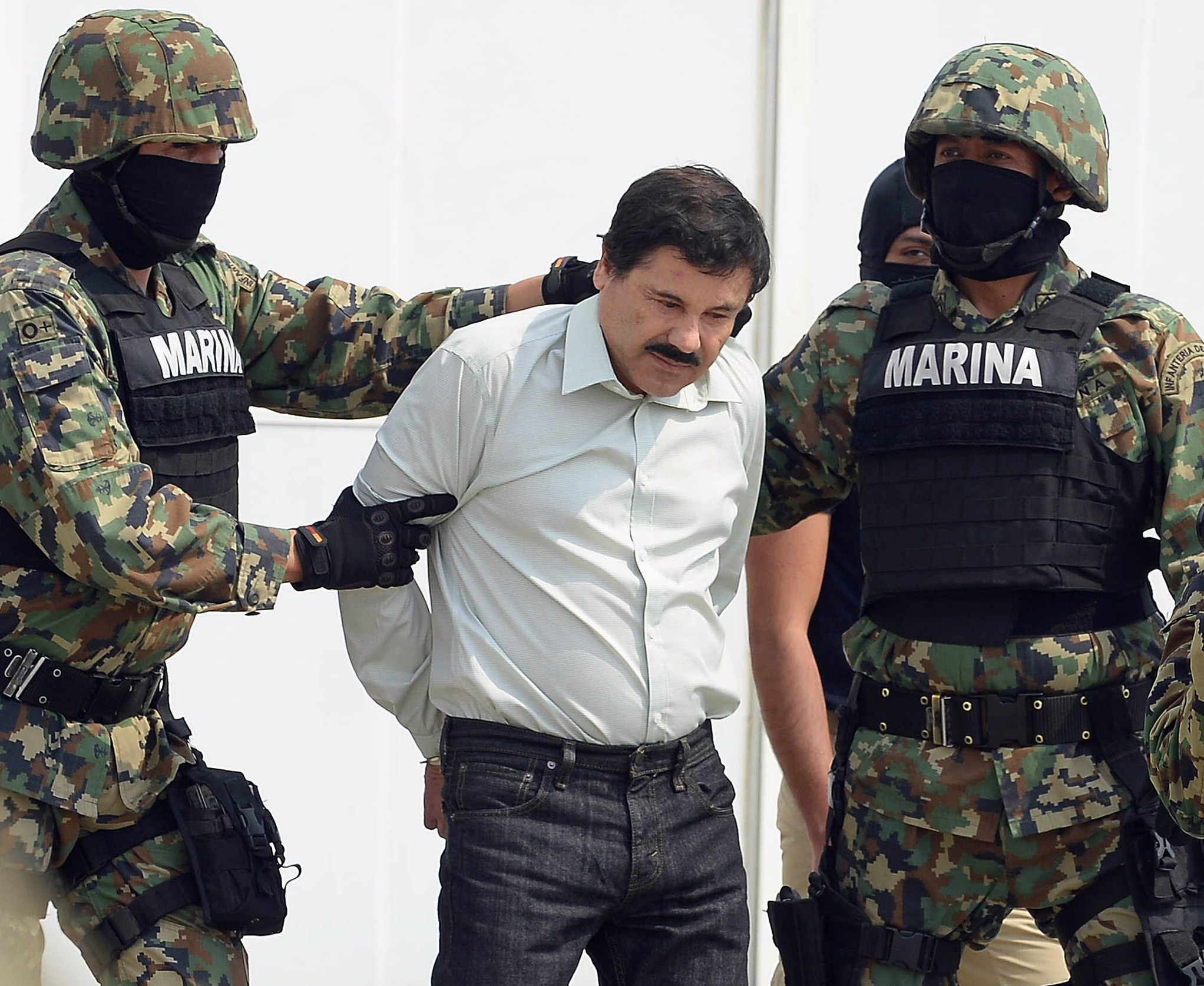 """El Chapo"" Guzman after his arrest in February 2014. Gety http://abcnews.go.com/International/mexican-drug-lord-joaquin-el-chapo-guzman-escapes/story?id=32391731"