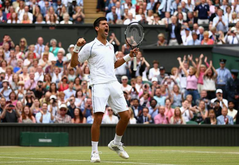 LONDON, ENGLAND - JULY 12:  Novak Djokovic of Serbia celebrates after winning the Final Of The Gentlemen's Singles against Roger Federer of Switzerland on day thirteen of the Wimbledon Lawn Tennis Championships at the All England Lawn Tennis and Croquet Club on July 12, 2015 in London, England.  (Photo by Clive Brunskill/Getty Images)