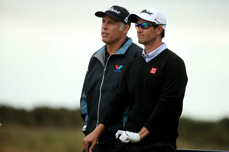 ST ANDREWS, SCOTLAND - JULY 14: Adam Scott of Australia stands alongside caddie Steve Williams during a practice round ahead of the 144th Open Championship at The Old Course on July 14, 2015 in St Andrews, Scotland. (Photo by Streeter Lecka/Getty Images)