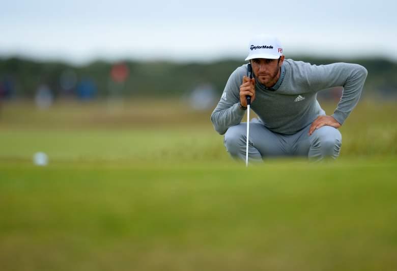 Dustin Johnson went 7-under par in Thursday's first round of the British Open. (Getty)