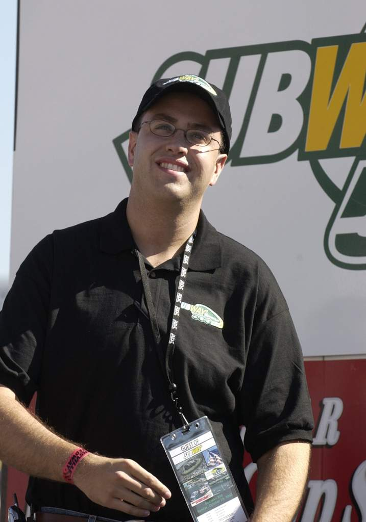 Actor Jared Fogle watches pre-race introductions Sunday, October 19, 2003 at the NASCAR Subway 500 at Martinsville Speedway, Martinsville, Virginia. (Photo by Al Messerschmidt/WireImage)