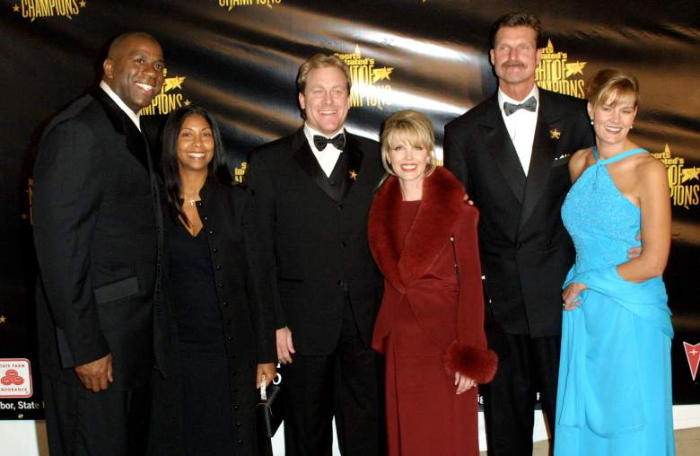 Johnson and his wife Lisa (R) during Sports Illustrated's Night of Champions in 2001. Also pictures is Magic Johnson (L), Curt Schilling (M) and their wives. (Getty)