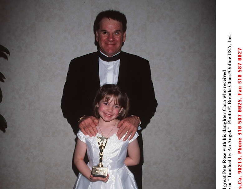 "Pete Rose with his daughter Chea who received the Young Artist award for her role in ""Touched by an Angel."" (Getty)"