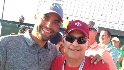Michael Greller and his father at the U.S. Open. (Twitter)