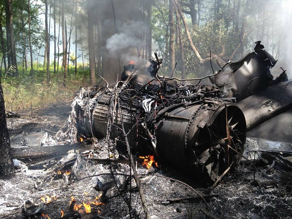 Debris from a mid-air collision involving a F-16 military jet and a Cessna small plane. (Amy Ramsey Dye/Facebook)