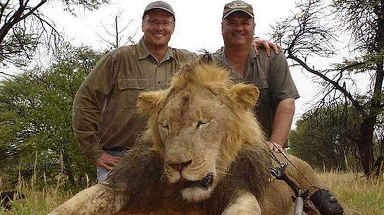 Walter Palmer, left, poses behind a dead lion in 2008. (Trophy Hunt America)
