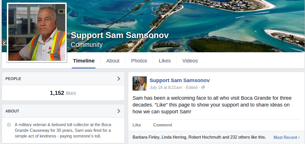 Sam Samsonov, Florida tollbooth worker fired paying toll