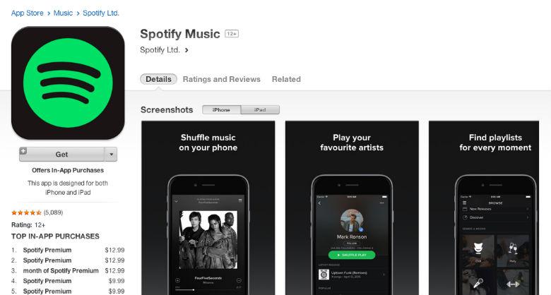 spotify premium, apple music, itunes, app store