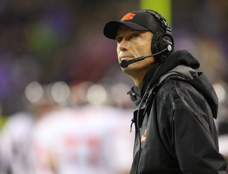 SEATTLE, WA - OCTOBER 27: Head coach Mike Riley of the Oregon State Beavers looks on during the game against the Washington Huskies on October 27, 2012 at CenturyLink Field in Seattle, Washington. (Photo by Otto Greule Jr/Getty Images)