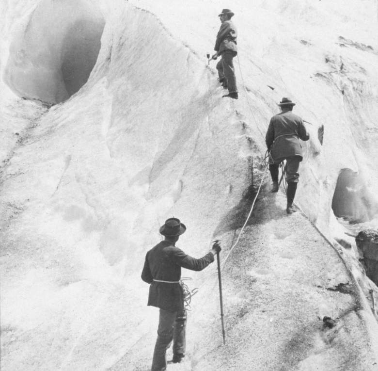 Three explorers cut steps into the ice of the Bossons Glacier as they ascend Mt. Blanc in the French Alps, France, 1817.  (Photo by Hulton Archive/Getty Images)