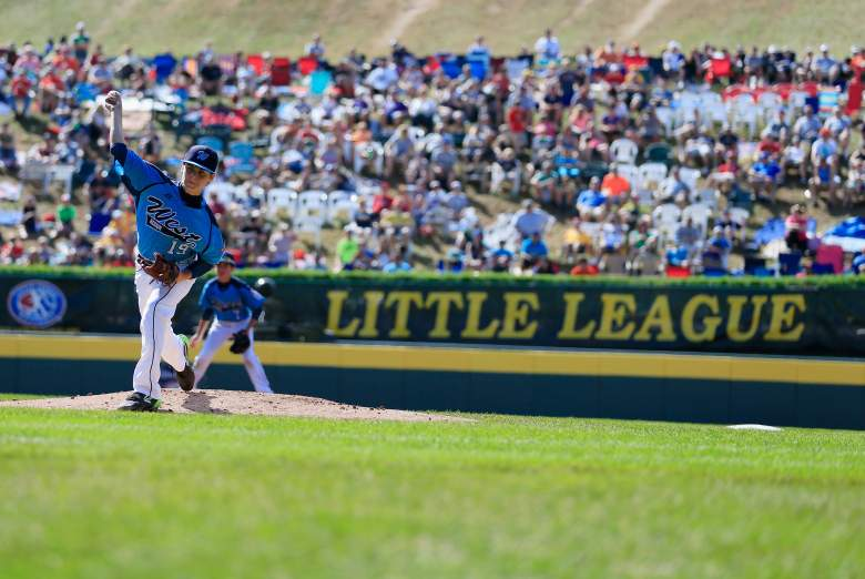 SOUTH WILLIAMSPORT, PA - AUGUST 24: Pitcher Zach Hare #19 of the West Team from Las Vegas, Nevada throws to a Team Japan batter during the first inning of the Little League World Series third place game at Lamade Stadium on August 24, 2014 in South Williamsport, Pennsylvania. (Photo by Rob Carr/Getty Images)