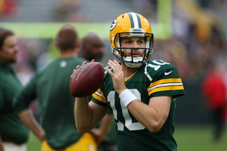 GREEN BAY, WI - AUGUST 28: Quarterback Matt Flynn #10 of the Green Bay Packers warms up before the preseason game against the Kansas City Chiefs on August 28, 2014 at Lambeau Field in Green Bay, Wisconsin. (Photo by John Konstantaras/Getty Images)