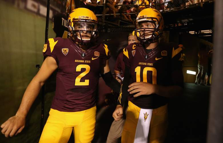 TEMPE, AZ - AUGUST 28: Quarterbacks Mike Bercovici #2 and Taylor Kelly #10 of the Arizona State Sun Devils take the field during the college football game against the Weber State Wildcats at Sun Devil Stadium on August 28, 2014 in Tempe, Arizona. (Photo by Christian Petersen/Getty Images)