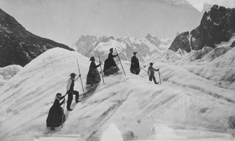 A group of men and women mountain climbing on the Mer de Glace, France, circa 1870. (Photo by Hulton Archive/Getty Images)