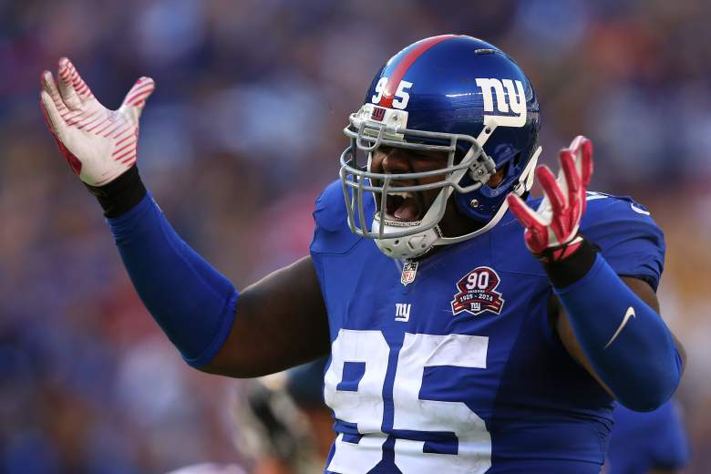 EAST RUTHERFORD, NJ - OCTOBER 05: Defensive tackle Johnathan Hankins #95 of the New York Giants celebrates after sacking quarterback Matt Ryan #2 of the Atlanta Falcons in the fourth quarter of their game at MetLife Stadium on October 5, 2014 in East Rutherford, New Jersey. (Photo by Elsa/Getty Images)