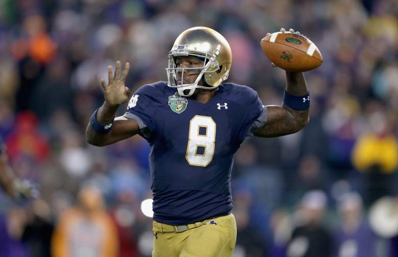 NASHVILLE, TN - DECEMBER 30: Malik Zaire #8 of the Notre Dame Fighting Irish passes the ball against the LSU Tigers during the Franklin American Mortgage Music City Bowl at LP Field on December 30, 2014 in Nashville, Tennessee. (Photo by Andy Lyons/Getty Images)