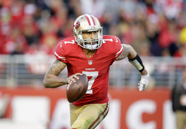 Kaepernick used his legs in the first half. (Getty)