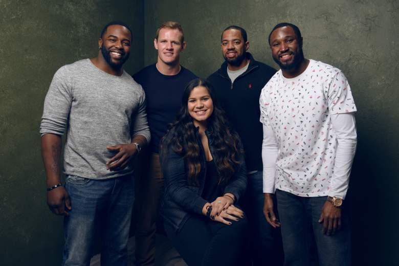 "NFL players Stevenson Sylvester, AJ Edds, guest Sydney Seau, Derek Shelby and Robert Johnson of ""In Football We Trust"" poses for a portrait at   the Sundance Film Festival. (Getty)"