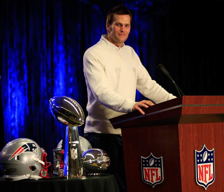 PHOENIX, AZ - FEBRUARY 02:  Tom Brady of the New England Patriots talks with the media during a Chevrolet Super Bowl XLIX MVP press conference folowing the Patriots Super Bowl win over the Seattle Seahawks on February 2, 2015 in Phoenix, Arizona.  (Photo by Jamie Squire/Getty Images)