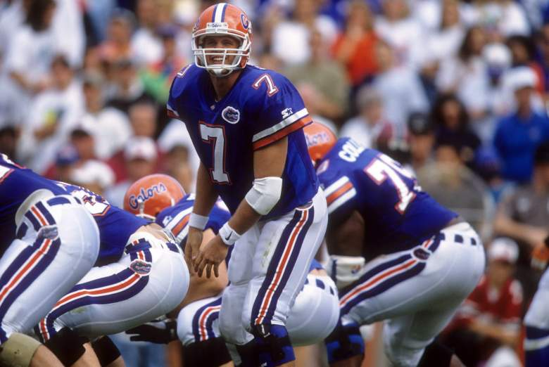 GAINESVILLE, FL - NOVEMBER 16: Quaterback Danny Wuerffel #7 of the Florida Gators calls the play during an NCAA game against the South Carolina Gamecocks on November 16, 1996 at Ben Hill Griffin Stadium in Gainesville, Florida. The Gators defeated the Gamecocks 52-25. (Photo by Andy Lyons/Getty Images)