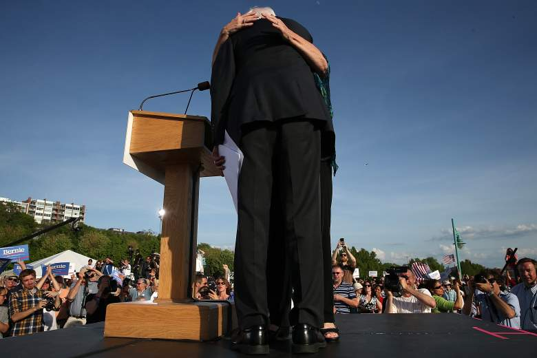 BURLINGTON, VT - MAY 26: U.S. Sen. Bernie Sanders (I-VT) is hugged by his wife, Jane O'Meara Sanders, after officially announcing his candidacy for the U.S. presidency during an event at Waterfront Park May 26, 2015 in Burlington, Vermont. Sanders will run as a Democrat in the presidential election and is former Secretary of State Hillary ClintonÕs first challenger for the Democratic nomination. (Photo by Win McNamee/Getty Images)