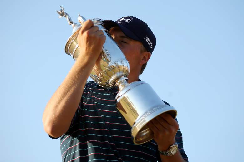 Jordan Spieth celebrates after winning the 2015 US Open at Chambers Bay. (Getty)