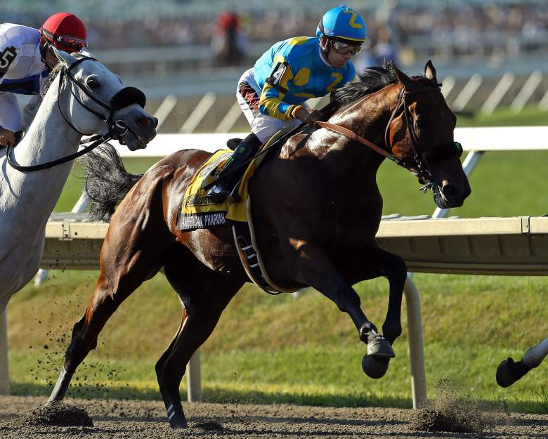 MONMOUTH, NJ - AUGUST 2: Victor Espinoza rides atop American Pharoah #4 during the 48th William Hill Haskell Invitational at Monmouth Park on August 2, 2015 in Monmouth, New Jersey. (Photo by Adam Hunger/Getty Images)