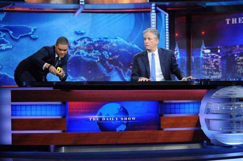 "NEW YORK, NY - AUGUST 06: Trevor Noah and host Jon Stewart appear on ""The Daily Show with Jon Stewart"" #JonVoyage on August 6, 2015 in New York City. (Photo by Brad Barket/Getty Images for Comedy Central)"