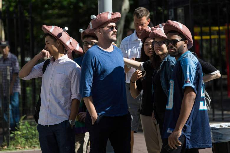 NEW YORK, NY - AUGUST 12: Fans show up to support the National Football League (NFL) Commissioner Roger Goodell decision to suspend New England Patriots' quarterback Tom Brady for four games after it was decided Brady knew about deflated footballs used in last year's NFL season at federal court on August 12, 2015 in New York City. Brady is challenging the suspension in federal court in the hopes of playing the first four games of the 2015 season (Photo by Andrew Burton/Getty Images)