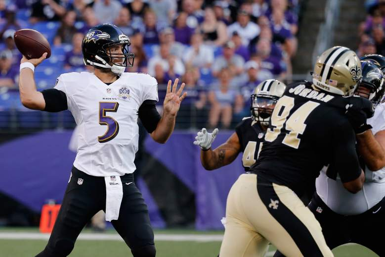 BALTIMORE, MD - AUGUST 13: Quarterback Joe Flacco #5 of the Baltimore Ravens throws a first quarter pass against the New Orleans Saints during their preseason game at M&T Bank Stadium on August 13, 2015 in Baltimore, Maryland. (Photo by Rob Carr/Getty Images)