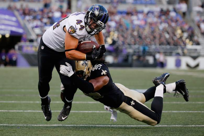 BALTIMORE, MD - AUGUST 13:  Kyle Juszczyk #44 of the Baltimore Ravens is tackled by Hau'oli Kikaha #45 of the New Orleans Saints during the first half of a preseason game at M&T Bank Stadium on August 13, 2015 in Baltimore, Maryland.  (Photo by Rob Carr/Getty Images)